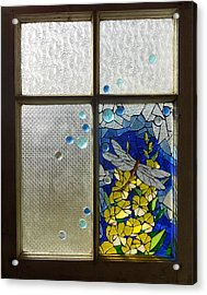Mosaic Stained Glass - Dragonfly In The Window Acrylic Print by Catherine Van Der Woerd