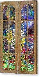 Mosaic Stained Glass - Flower Garden Acrylic Print by Catherine Van Der Woerd