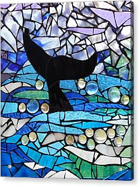 Mosaic Stained Glass - Whale Tail Acrylic Print by Catherine Van Der Woerd