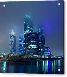 Moscow City In Myst At Night Acrylic Print by Alex Sukonkin
