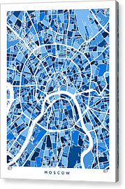 Moscow City Street Map Acrylic Print by Michael Tompsett