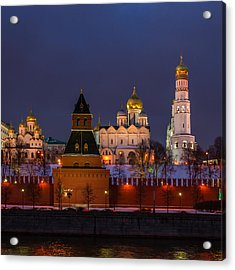 Moscow Kremlin Cathedrals At Night - Square Acrylic Print by Alexander Senin