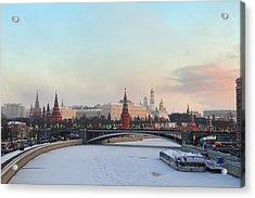 Moscow Kremlin In Winter Acrylic Print by Alex Sukonkin