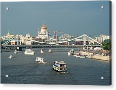 Moscow-river Traffic In Summertime - Featured 3 Acrylic Print by Alexander Senin