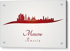 Moscow Skyline In Red Acrylic Print by Pablo Romero