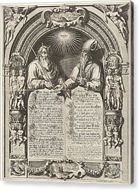 Moses And Aaron With The Tablets Of The Law Acrylic Print by Simon Frisius And Gerard Valck