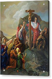 Acrylic Print featuring the painting Moses And The Brazen Serpent - Biblical Stories by Svitozar Nenyuk