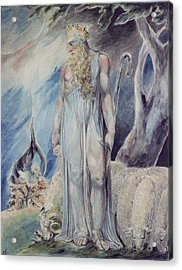 Moses And The Burning Bush Acrylic Print by William Blake