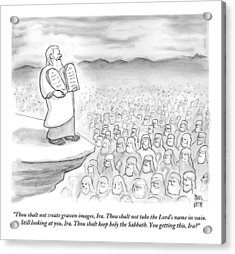 Moses Recites The Ten Commandments To An Audience Acrylic Print by Paul Noth