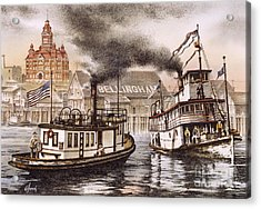 Mosquito Fleet Steamboats Acrylic Print by James Williamson