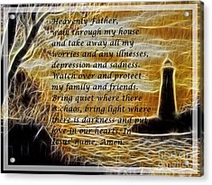 Most Powerful Prayer With Lighthouse Scene Acrylic Print by Barbara Griffin