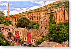 Acrylic Print featuring the painting Mostar by Michael Pickett