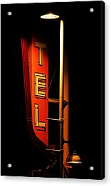 Motel Sign At Night Acrylic Print by Daniel Woodrum