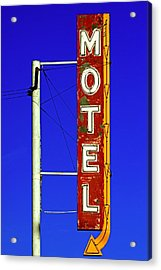Motel Sign On Route 66 Acrylic Print by Daniel Woodrum