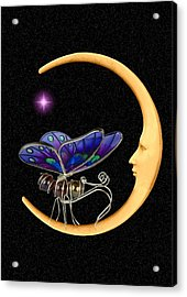 Moth On Moon Acrylic Print
