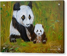 Acrylic Print featuring the painting Mother And Baby Panda by Jenny Lee