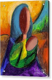 Acrylic Print featuring the pastel Mother And Child by Karen  Ferrand Carroll