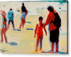 Mother And Child On Sunny Beach Acrylic Print by Thomas Bertram POOLE