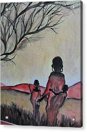Mother And Children Walking In Kenya Acrylic Print
