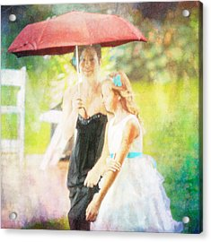 Mother And Daughter In The Garden Acrylic Print