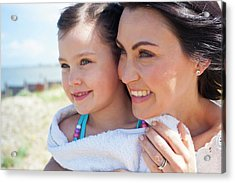 Mother And Daughter Smiling Acrylic Print