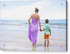 Mother And Son On Beach Acrylic Print by Kicka Witte