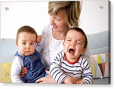 Mother And Twin Baby Sons Acrylic Print by Aj Photo