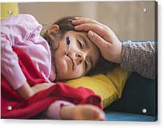 Mother Checking On Sick Daughter Laying In Bed Acrylic Print by Ridvan_celik