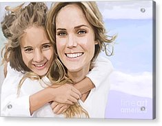 Acrylic Print featuring the painting Mother Daughter Portrait   by Tim Gilliland