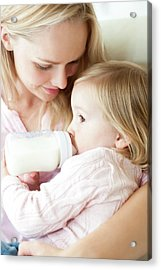 Mother Feeding Daughter With Bottle Acrylic Print