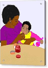 Mother Feeding Her Baby Acrylic Print by Pharris Art