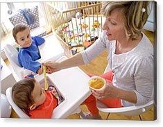 Mother Feeding Twin Baby Sons Acrylic Print