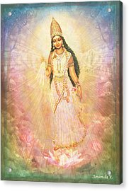 Mother Goddess In Rainbow Colours Acrylic Print by Ananda Vdovic