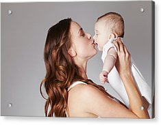 Mother Kissing Baby Daughter Acrylic Print by Emma Kim