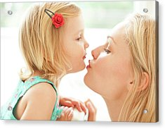 Mother Kissing Daughter Acrylic Print