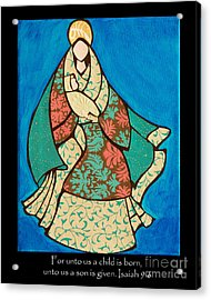 Mother Mary And Baby Jesus Acrylic Print