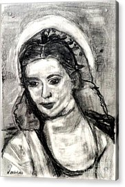 Acrylic Print featuring the painting Mother Mary-let It Be by Helena Bebirian