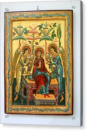 Mother Of God In Heaven With The Archangels Hand Painted Holy Orthodox Wooden Icon Acrylic Print by Denise Clemenco