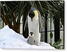 Mother Penguin And Baby Acrylic Print