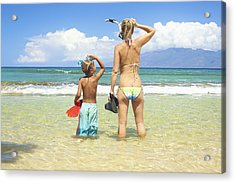 Mother Son Snorkel Acrylic Print by Kicka Witte