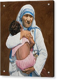 Mother Teresa Holding A Child Acrylic Print