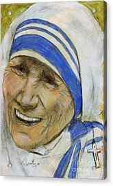 Mother Teresa Acrylic Print by P J Lewis