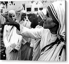 Mother Teresa Points Something Out Acrylic Print by Retro Images Archive