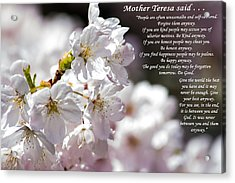 Mother Teresa Said Acrylic Print by Tikvah's Hope