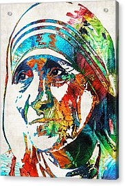 Mother Teresa Tribute By Sharon Cummings Acrylic Print