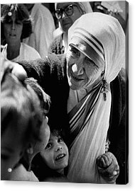 Mother Teresa With Children Acrylic Print