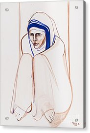 Mother Theresa Sitting Acrylic Print by May Ling Yong