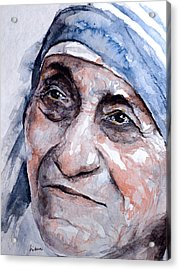 Mother Theresa Watercolor Acrylic Print