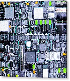 Motherboard Abstract 20130716 P38 Square Acrylic Print by Wingsdomain Art and Photography