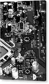 Motherboard Black And White Acrylic Print